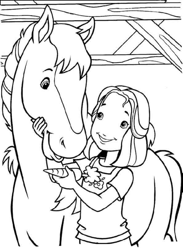 Ein Mädchen streichelt ihr Pferd