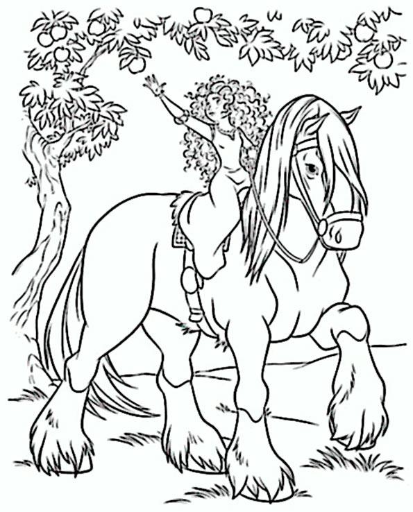 bilder zum asumalen prinzessin in pferde