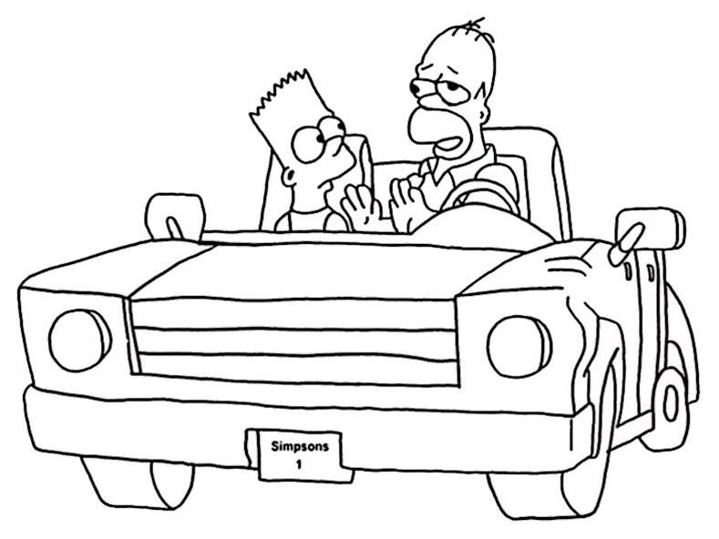 bilder zum ausmalen simpsons im auto 1