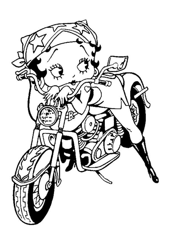 bilder zum ausmalen betty boop im motorrad